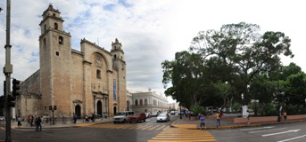 Cathedral in Merida central plaza